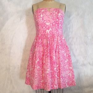 Lilly Pulitzer strapless pink floral dress, Sz 8